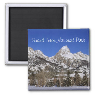 Grand Tetons, WY Winter Square Magnet