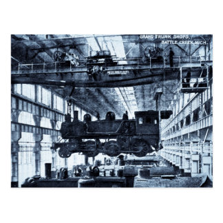 Grand Trunk Railroad Shops circa 1910 - Cyanotype Postcard