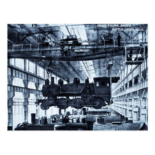 Grand Trunk Railroad Shops circa 1910 - Cyanotype Post Cards