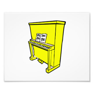 grand yellow upright piano with music.png photo