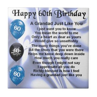 Grandad Poem - 60th Birthday Tiles