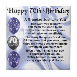 grandad poem - 70th Birthday Small Square Tile