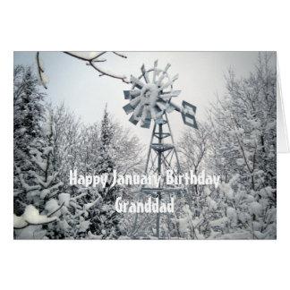 Grandad's January Birthday-windmill snow scene Greeting Card