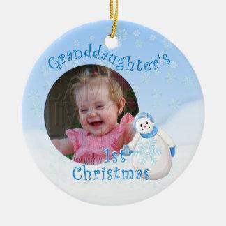 Grandaughter's 1st Christmas Snowman Round Photo Ceramic Ornament