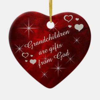 Grandchildren Star Heart Keepsake Ceramic Ornament
