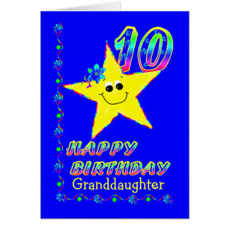 Granddaughter 10th Brithday Stars Greeting Card