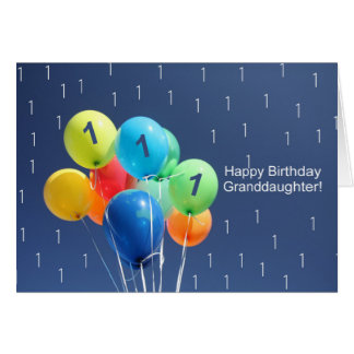 Granddaughter 1st birthday balloons card