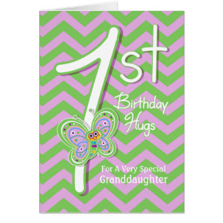 Granddaughter 1st Birthday Butterfly Hugs Card