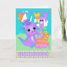 Granddaughter, 1st Birthday Cute Little Monster Card