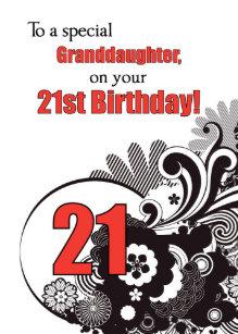 Granddaughter 21st Birthday Religious Swirls Card