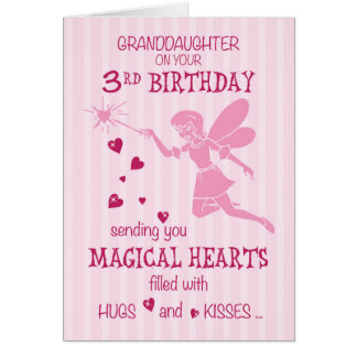Granddaughter 3rd Birthday Magical Fairy Pink Greeting Card