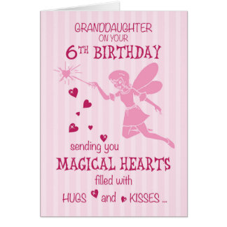 Granddaughter 6th Birthday Magical Fairy Pink Card