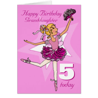 Granddaughter ballerina birthday pink age card