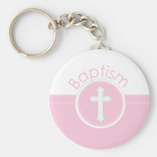 Granddaughter Baptism Congratulations Pink Child o Basic Round Button Key Ring