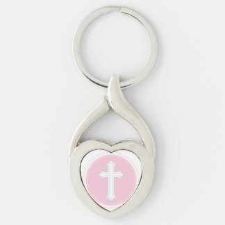 Granddaughter Baptism Congratulations Pink Child o Silver-Colored Twisted Heart Key Ring