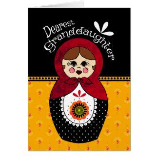 Granddaughter Birthday Babushka Doll Greeting Card