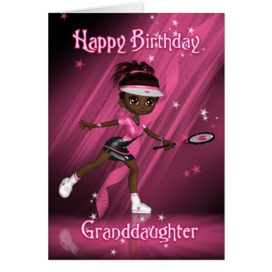 Granddaughter Birthday Card Tennis Player - Tweens