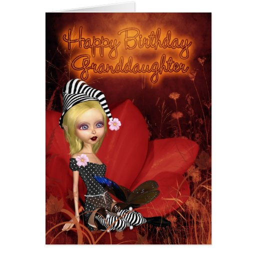 Granddaughter, Birthday Card With Cute Fantasy Elf