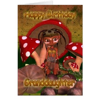 Granddaughter Birthday Card With Cute Modern Elf