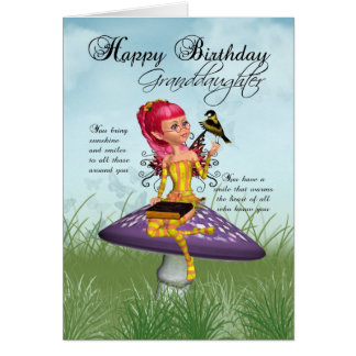 Granddaughter Birthday Card With Fairy And Chaffin