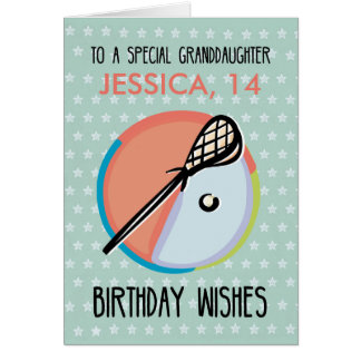 Granddaughter Birthday, Lacrosse Sport, Personaliz Card