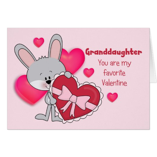Granddaughter Bunny Favourite Valentine Card