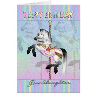 Granddaughter carousel birthday card - pastel caro