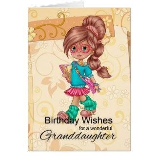 Granddaughter Cute And Trendy Birthday Greetings Card
