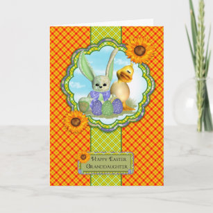 Granddaughter easter gifts on zazzle au granddaughter cute easter card with rabbit negle Images