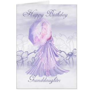 Granddaughter Cute Feminine Birthday Card