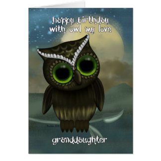 Granddaughter Cute Owl Birthday Greeting Card
