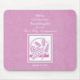 Granddaughter First Communion, Pink Mouse Pad