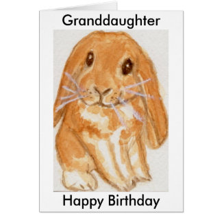 Granddaughter Grandson Rabbit birthday personalise Card
