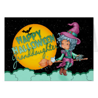 granddaughter halloween card with cute witch