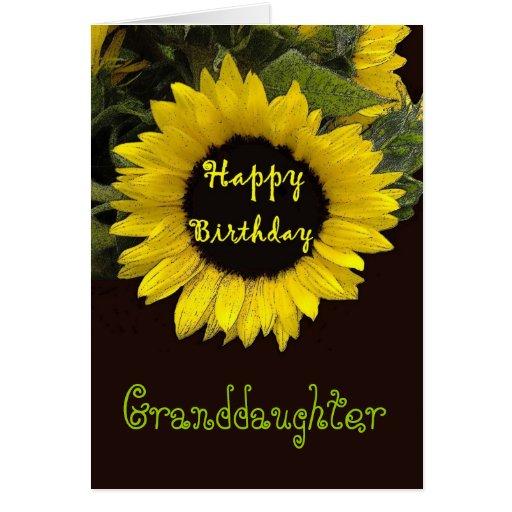 granddaughter happy birthday cheerful sunflower card zazzle. Black Bedroom Furniture Sets. Home Design Ideas