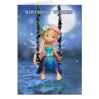 Granddaughter Happy Birthday cute fairy Card