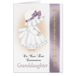 Granddaughter Holy Communion Card With Little Girl