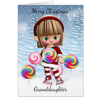 Granddaughter Little Elf With Candy Pops And Snow Card