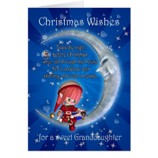Granddaughter, night before Christmas with elf an Greeting Card