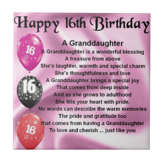 Granddaughter Poem 16th Birthday Small Square Tile