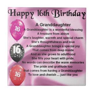 Granddaughter Poem 16th Birthday Tile