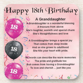 Granddaughter Poem - 18th Birthday Coasters