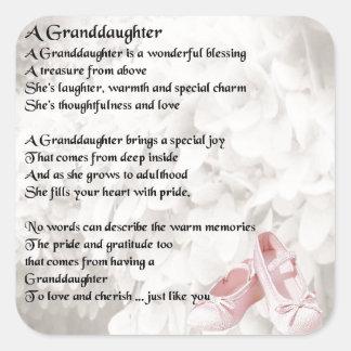Granddaughter Poem - Ballet Shoes Design Square Sticker