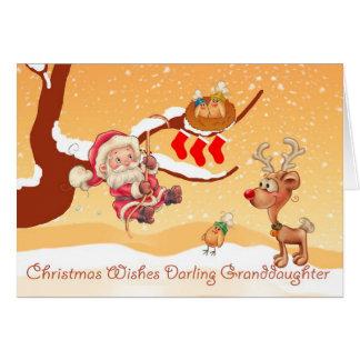 Granddaughter Santa Climbing A Tree To Give Gifts Card