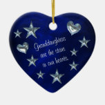 Granddaughter Star and Heart Christmas Ornament