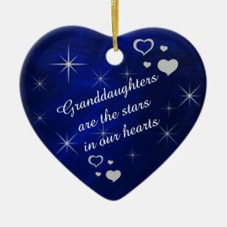 Granddaughter Star Heart Keepsake Christmas Tree Ornaments
