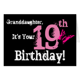 Granddaughter's 19th birthday,butterfly, in pink. card