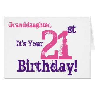 Granddaughter's 21st birthday in purple, pink. greeting card