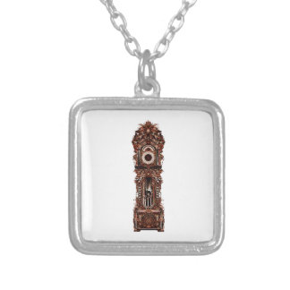 Grandfather Clock Silver Plated Necklace