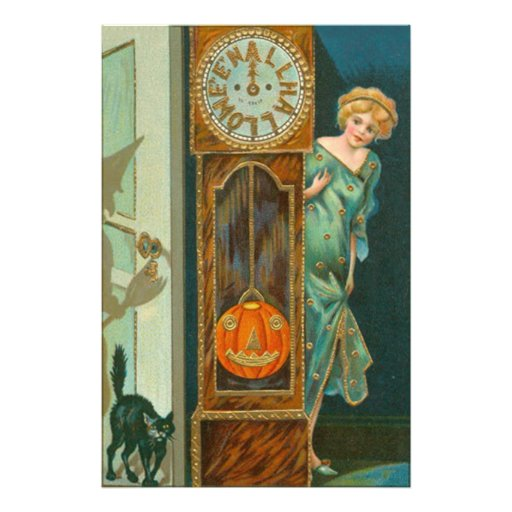 Grandfather Clock Witch Pumpkin Black Cat Photo